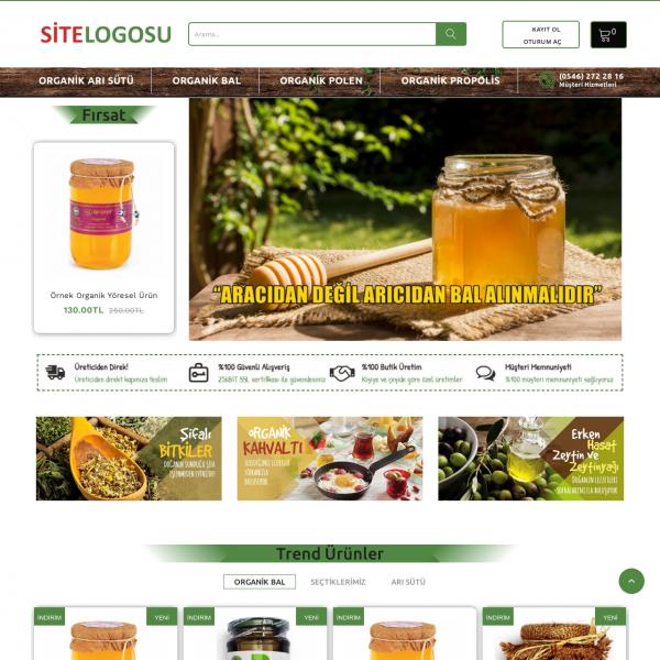 Opencart Bal Satış Teması - Organik Ürün Teması